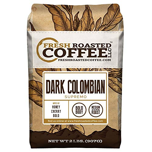 Dark Colombian Supremo Coffee, Whole Bean, Fresh Roasted Coffee LLC. (2 lb.)