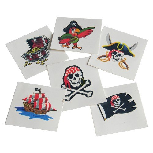 Assorted Pirate Theme Temporary Tattoos (144) - Pirate Themed Party Supplies