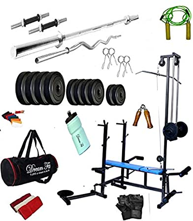 aba95229c8 DREAMFIT 100 KG Home Gym with 20 in 1 Bench