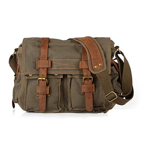 Sechunk Vintage Military Leather Canvas Laptop Bag Computer Bag Messenger Bags Shoulder Bag Cross body Bag Satchel Bag Book bag Working Bag Sports Bag School Bag (Medium--15'', Army Green)