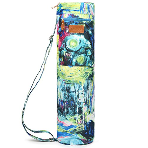 ELENTURE Full-Zip Exercise Yoga Mat Carry Bag with Multi-Functional Storage Pockets (Oil painting)