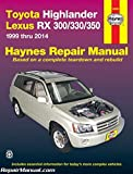 H92095 Haynes 2001-2007 Toyota Highlander 1999-2006 Lexus RX-300 330 Auto Repair Manual