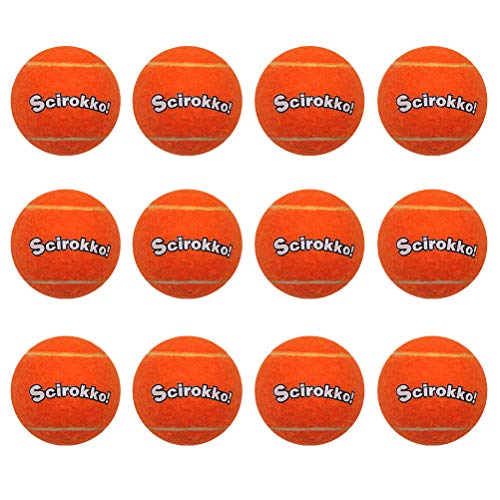 SCIROKKO 12 Pcs/Set Squeaky Tennis Balls for Dogs - Playing and Training Toys - Orange 2.5 inch - Small Medium Large Pet ()