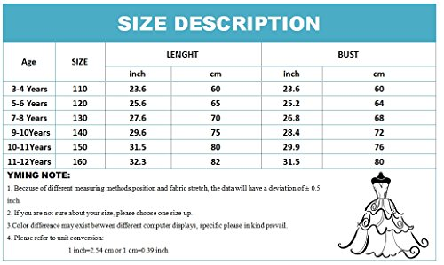 Color YMING Party Blue Princess Girls' Dress Dress Gown Lace Light Pageant Candy Big 8EOwr7xq8