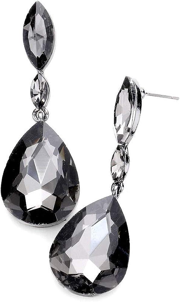 Smoky Crystal Post-drop Earrings