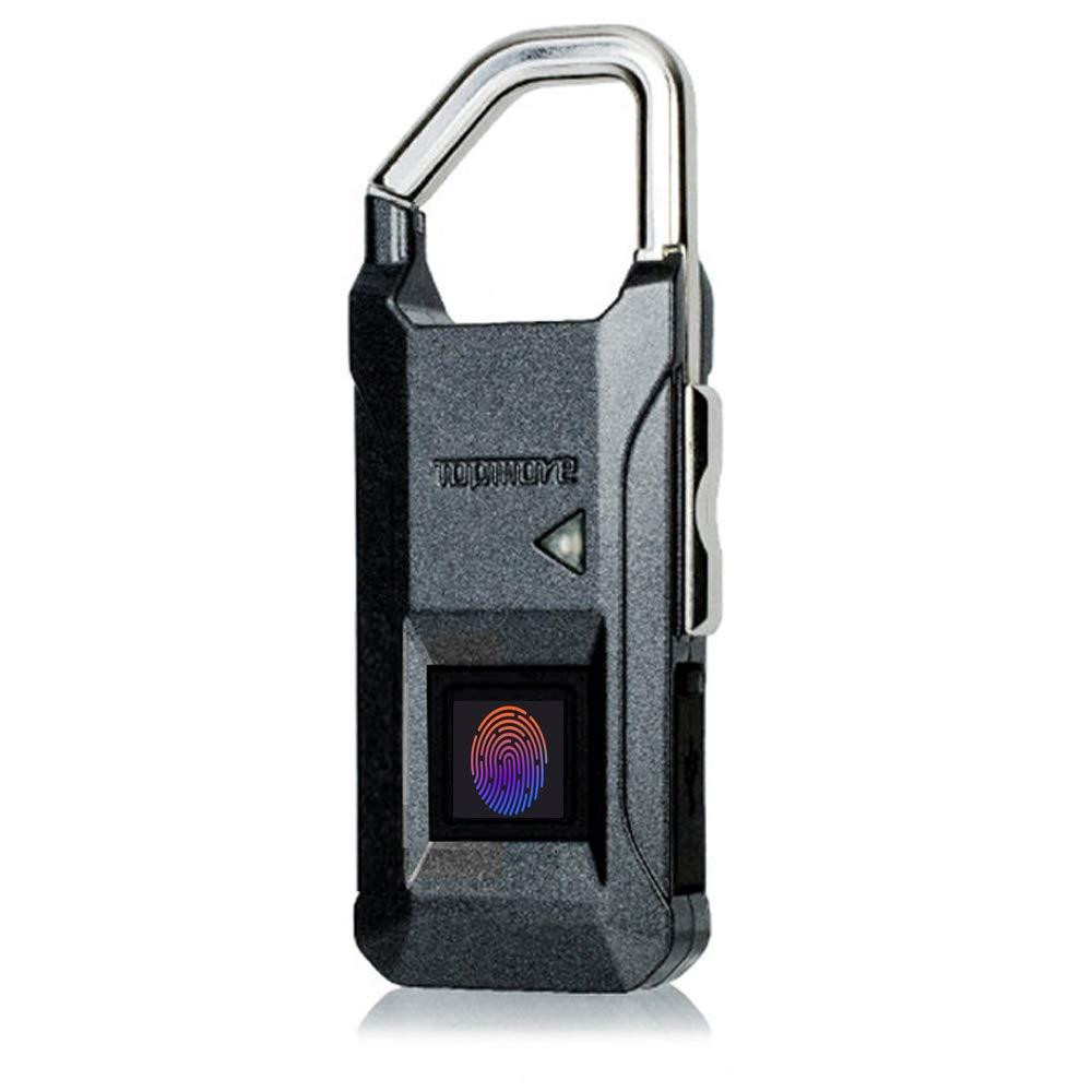 TOPMORE Fingerprint Lock | Smart Security Fingerprint Padlock for Locker, Suitcase, Travel Luggage, and More | IP54 Waterproof and Dustproof | Shackle Tensile Strength: 66 lbs (Dark Grey)