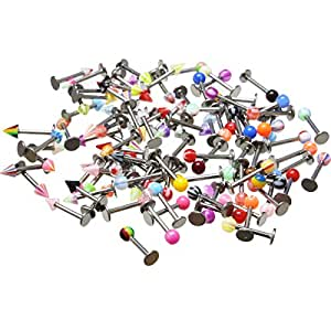 Oasis Plus 100PCS Assorted 16g 316L Surgical Steel Labret Ring Lip Studs Chin Tragus Bar Body Piercing Jewellery