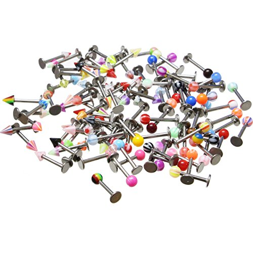 Oasis Plus 100PCS 16g 316L Surgical Steel Monroe Labret Ring Lip Chin Stud Tragus Earring Bar Body Piercing Kit