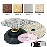 4'' Diamond Polishing 45 Pad 2 Glaze Finishing Buffer Backer PLUS stone fabrication granite countertop undermount sink cut video dvd (USB) quartz concrete travertine marble renew repair care