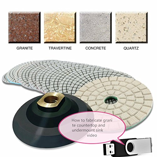 4'' Diamond Polishing 45 Pad 2 Glaze Finishing Buffer Backer PLUS stone fabrication granite countertop undermount sink cut video dvd (USB) quartz concrete travertine marble renew repair care by Asia Pacific Construction