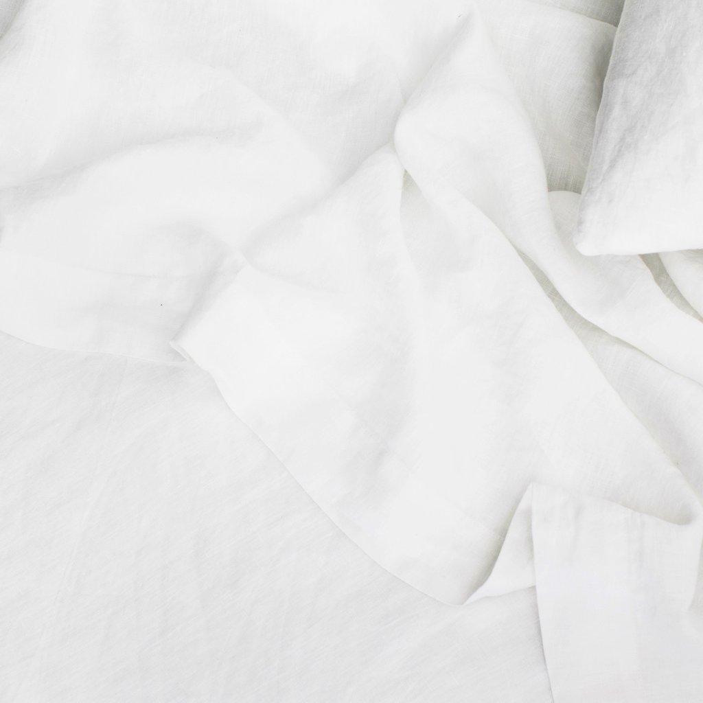 Merryfeel 豪華な 100% 純粋なフランス リネン フラット シートクイーン ホワイト B0784R6H3L クイーン|ホワイト ホワイト クイーン