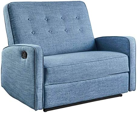 Christopher Knight Home Calliope Buttoned Fabric Reclining Loveseat, Muted Blue Black