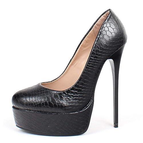378104bcd66 Amazon.com | JiaLuoWei Women High Heels Pumps Serpentine Print ...