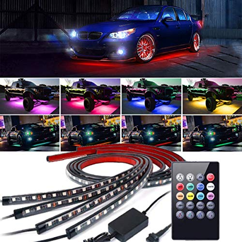 (4Pcs Car LED Neon Undercar Glow Lights Underglow Atmosphere Decorative Bar Lights kit Strip,Led Car Light Underglow Kit RGB Multicolor Neon Underbody 8 Color With Sound Active and Wireless Remote ...)