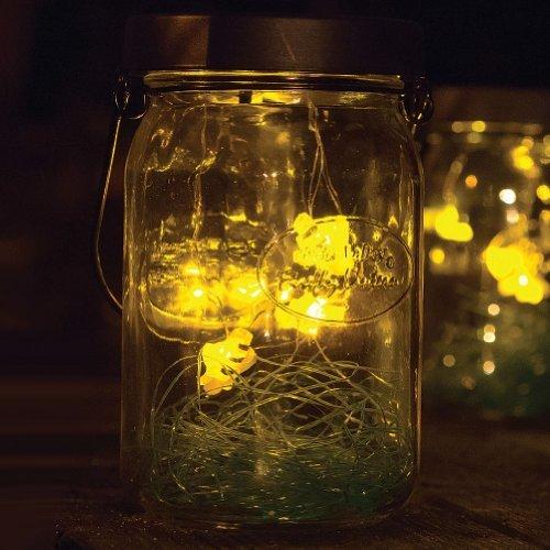 Echo Valley Solar Firefly LED Glass Lantern - Flickering Lightning Bug Mason Jar Light