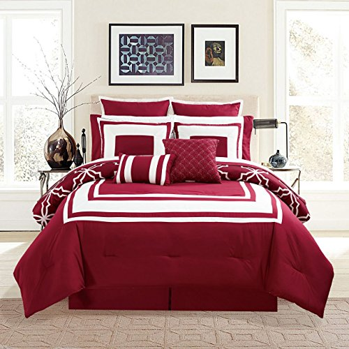 KingLinen 12 Piece Bernard Burgundy Comforter Set with Sheets Queen