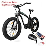 Cheap ECOTRIC Fat Tire Electric Bike Beach Snow Bicycle 4.0 inch Fat Tire 26″ 1000W 48V 13Ah ebike Electric Mountain Bicycle with Shimano 7 Speeds Black Lithium Battery Electric Mountain Bicycle (Black)