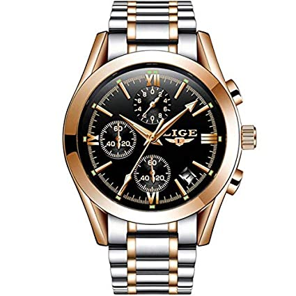 LIGE Full Stainless Steel Japanese Quartz Chronograph Classic Dual Tone Wristwatch for Men 9839 - Gold Silver