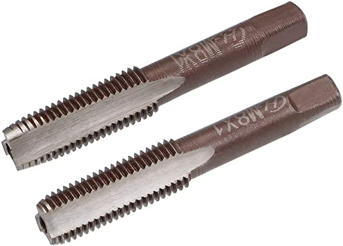 uxcell Metric Hand Tap M6 Thread 0.75 Pitch 3 Straight Flutes H2 Alloy Tool Steel 2 Pairs