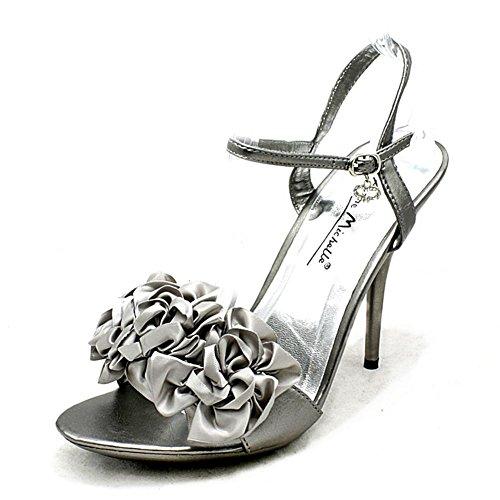 Satén de las señoras de la colmena de tacón alto de zapatos de fiesta / baile de delanteros Grey