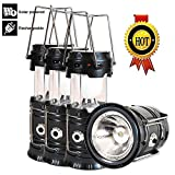 Solar Lantern Flashlight, 3 Packs Rechargeable Camping Lantern Led Collapsible, Bright Lights for Emergency, Hurricane, Power Outage(Black)