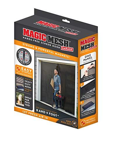 Magic Mesh Garage- Hands Free Magnetic Screen Door, Fits Single Garage Doors- 8 & 9 Foot (Garage Door Enclosure)