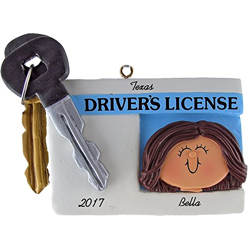 Driver's License Personalized Christmas Ornament - Female - Brown Hair - Handpainted Resin - 2.75