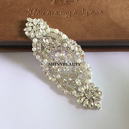 Rhinestone applique wedding headband garters