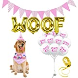 AK KYC Dog Birthday Party Supplies Dog Birthday Bandana Scarfs Hat Flag WOOF Letter Ballons and 10 pcs Balloons Party Decoration Set (Pink)
