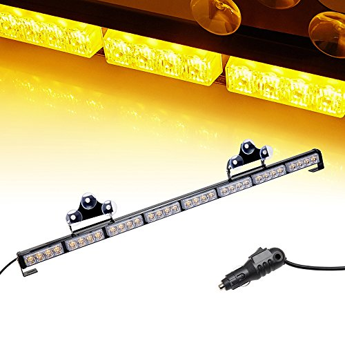 V-SEK 32 LED Hazard Emergency Warning Tow Traffic Advisor Flash Strobe Light Bar with Cigar Lighter and Suction Cups (35.5