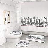 CqmzpdiC 1/3/4Pcs Giraffe Bathroom Shower Curtain Rug Toilet Cover Non-Slip Floor Mat Water-Absorption Durable Mildew Resistant Comfortable Practical Easy Washing Bathroom Decor 4pcs
