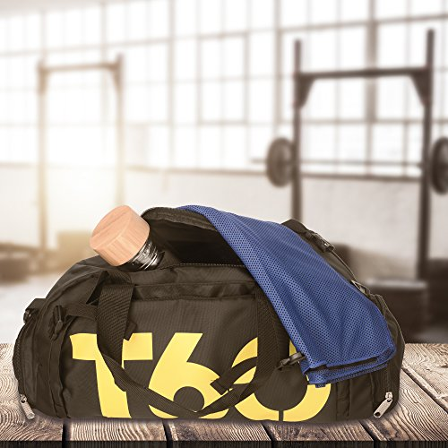 a2ee7baa38b9 EVIoX Sports Holdall Duffle Backpack Small Gym Bag + FREE Microfibre Sports  Towel. Ultimate Gym Bag for Women and Men with Separate Shoe Compartment.