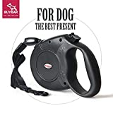 BUYBAR Eco-Friendly Retractable Nylon Dog Leash with One Button Lock and Ergonomic Hand Grip, Large, Black