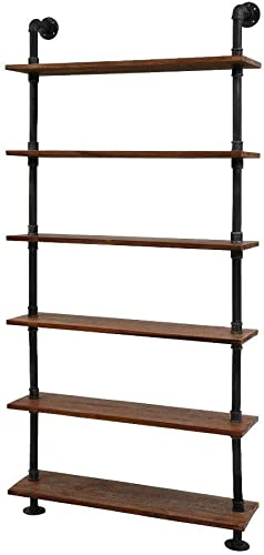 Diwhy Industrial Pipe Shelves Rustic Modern 36″ W Wood Ladder Bookcase