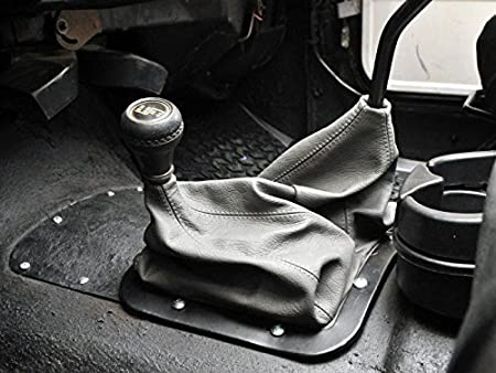 Dual Compatible with Jeep Wrangler YJ 1987-95 RedlineGoods Shift Boot Black Perforated Leather-Red Thread