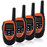 FLOUREON 4 Set Walkie Talkies Children 22 Channel Two Way Radios FRS/GMRS Long Range (MAX 5KM open field) (Orange)