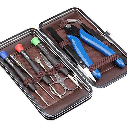 Coil Building Tool Kit Home DIY Tool Set 9 in 1 Leather case-Ceramics Tweezers Scissors Pliers Wire Jig Screwdriver Coil Brush Stainless Steel Tweezers for Household and Jewelry Repair Tool Set by YYGJ (Image #7)