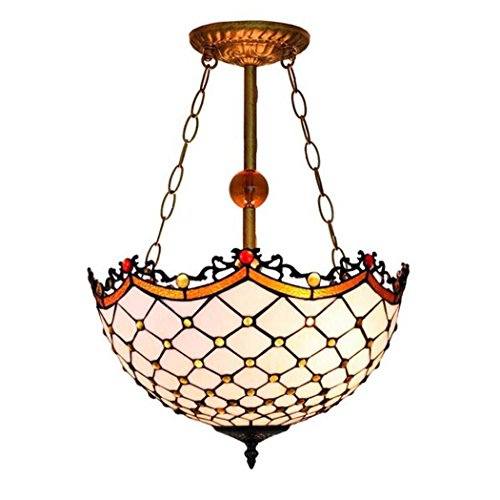 Art Glass Stained Glass Chandelier - Vintage Pendant Lamp, Tiffany Style Stained Glass Art Chandelier, Mediterranean Simple White Pendant Light For Living Room Dining Room Bedroom Bar E27 Without Light Source