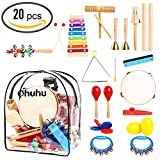 Musical Instrucments Toys, Ohuhu 20 PCS Kids Musical Instrucments, Toddler Music Toys, Rhythm Percussion Set for Baby Kid Child Boys Girls, Xylophone Harmonica Tambourine Hand Bell Shaker Egg Kazoo Storage Backpack Included
