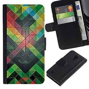 KingStore / Leather Etui en cuir / Samsung Galaxy S4 IV I9500 / Patrón Polígono abstracto moderno verde