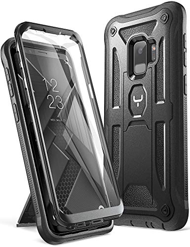 YOUMAKER Galaxy S9 Case, Heavy Duty Protection Kickstand with Built-in Screen Protector Shockproof Case Cover for Samsung Galaxy S9 5.8 inch (2018 Release) - Black