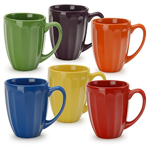 Signature Housewares Fluted Mugs, Assorted (Set of 6), Multicolor (6 Fluted)