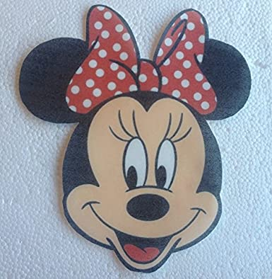 Large Precut Edible Minnie Mouse FaceRed Bow 68 Wafer Paper