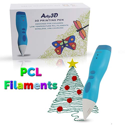 3D Printing Pen 3D Drawing Pen PCL Filaments Art and Craft Doodler Low Temperature Safe for Kids Modeling Pen Wireless USB Charging Clog Free Arty3D Blue ()