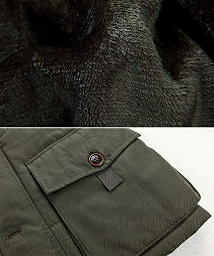 Lunga Cappuccio Casual Da Button Capispalla colore Con Esterno Zipper Ispessito Blu Cachi Fleece Keep Uomo Xxxl Manica Dimensioni Warm Lihua Cappotto wxIq5071OZ
