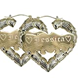 "Personalized Gold Heart shape Hoop Name Earrings 2.2"" Custom Made with Any Names"