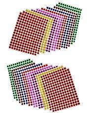 Febbya Rundprickiga klistermärken, 13 mm självhäftande färgade prickar små runda klistermärken 16 ark för kontor, skola, kalendrar, kartklistermärken