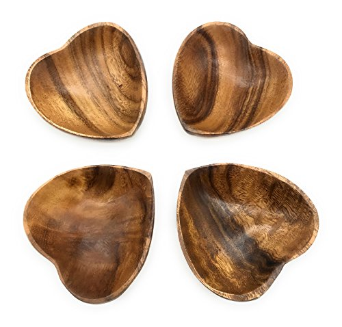 SDS Home Imports Acacia Wood Tray Plate Heart Shaped Design Hawaiin Latin Style Decor Food Plate (4)