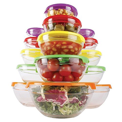 5pc Glass Storage Bowl Set with Colour Lids Food Container Microwave Dishwasher Freezer Safe Espice