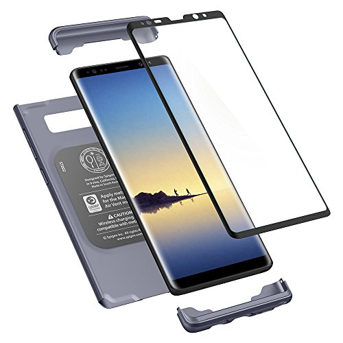 Spigen Thin Fit 360 Galaxy Note 8 Case with Exact Slim Full Protection and Tempered Glass Galaxy Note 8 Screen Protector (2017) - Orchid Gray
